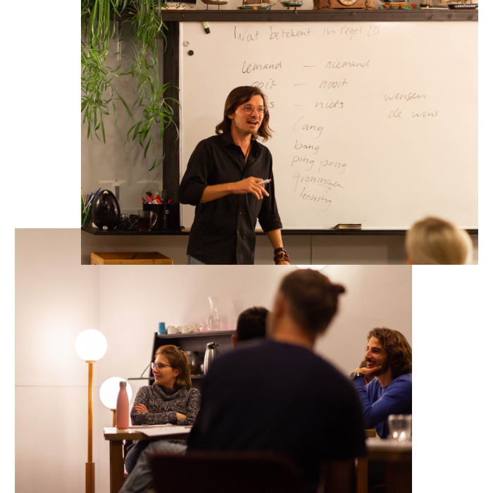 Students learning the dutch language while communicating